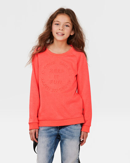 "MÄDCHEN-SWEATSHIRT ""KEEP IT FUN"" Koralle"