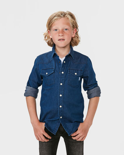 JUNGEN-REGULAR-FIT-JEANSHEMD Blau