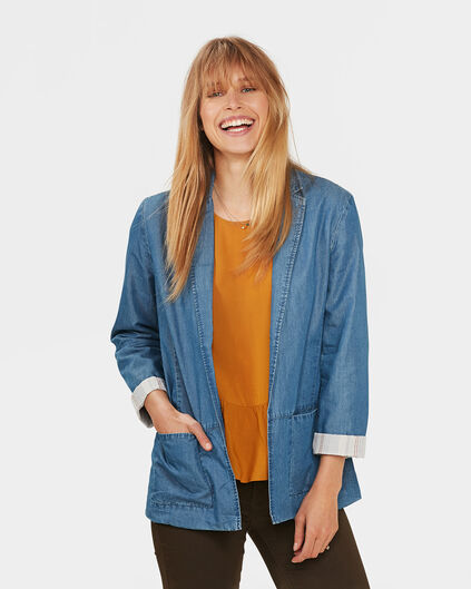 DAMENBLAZER IN JEANS-OPTIK Blau