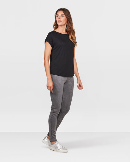 DAMEN-LEGGINGS IN VELOURLEDER-OPTIK Grau