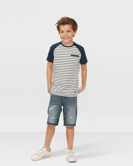 JUNGEN-REGULAR-FIT-RIP & REPAIR-JEANSSHORTS Blau
