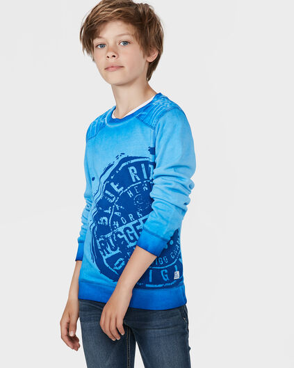 JUNGEN-SWEATSHIRT IN GARMENT-DYE-OPTIK Kobaltblau