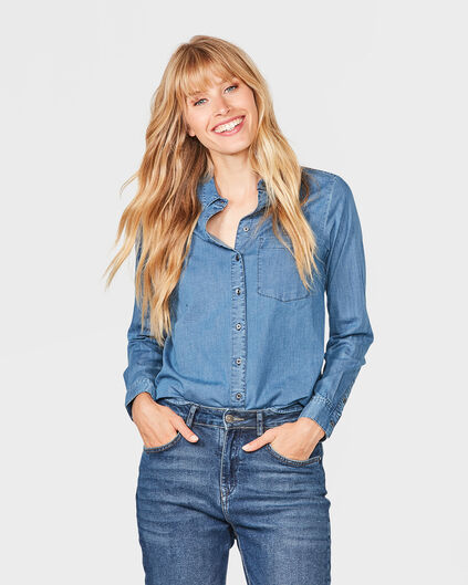 DAMEN-JEANSBLUSE IM REGULAR-FIT Hellblau