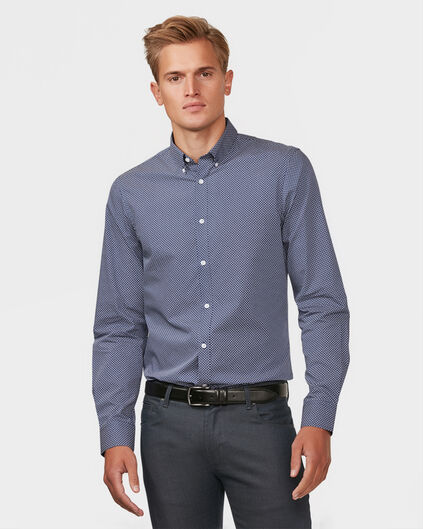 HERREN-SLIM-FIT-HEMD MIT BUTTON-DOWN-KRAGEN Dunkelblau