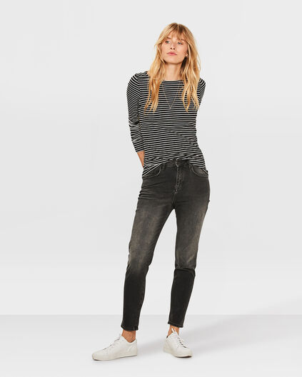 DAMEN-GIRLFRIEND-JEANS MIT TAPERED LEG Schwarz