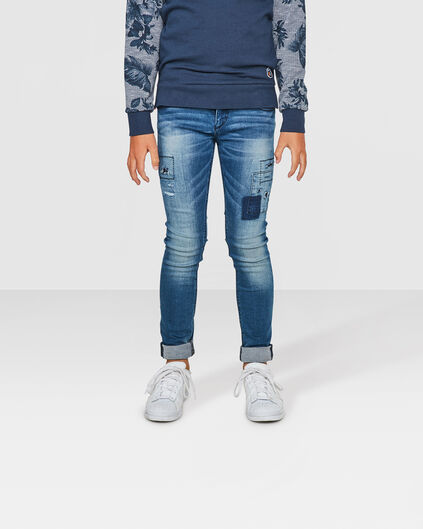 JUNGEN-SUPERSKINNY-POWER-STRETCH-RIP&REPAIR-JEANS Blau
