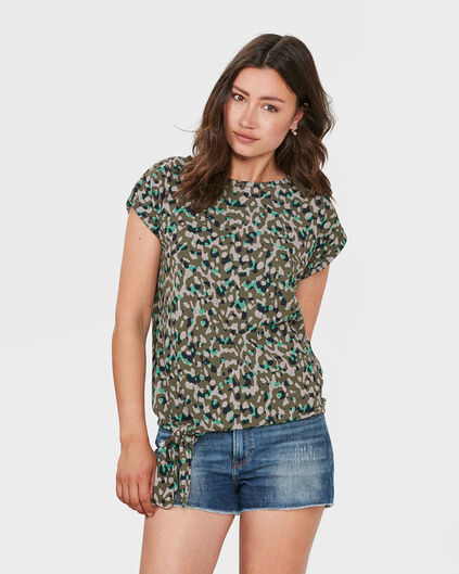 DAMEN-T-SHIRT MIT ANIMAL-PRINT Gemustert
