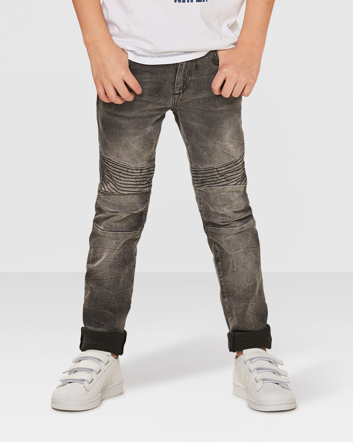jungen skinny grey biker jeans 79327299 we fashion. Black Bedroom Furniture Sets. Home Design Ideas