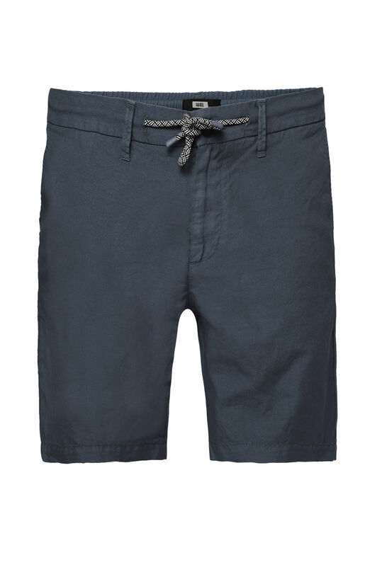 Herren-Regular-Fit-Chinoshorts aus Leinen-Mix Marineblau