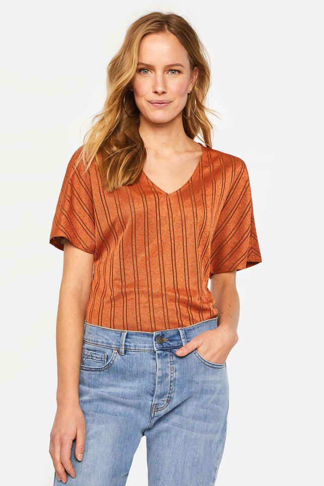 Damen-T-Shirt mit eingearbeitetem Muster Orange