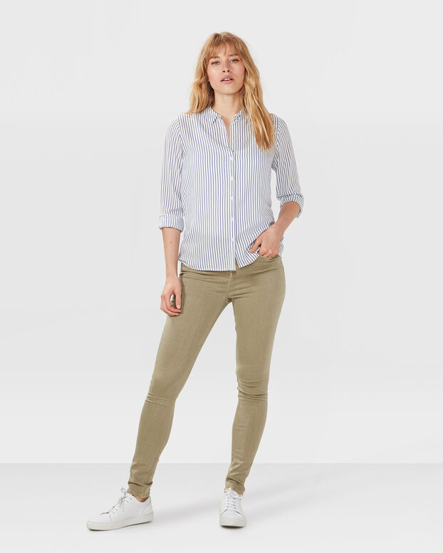 DAMEN-HIGH-RISE-SKINNY-HIGH-STRETCH-JEANS Olivgrün