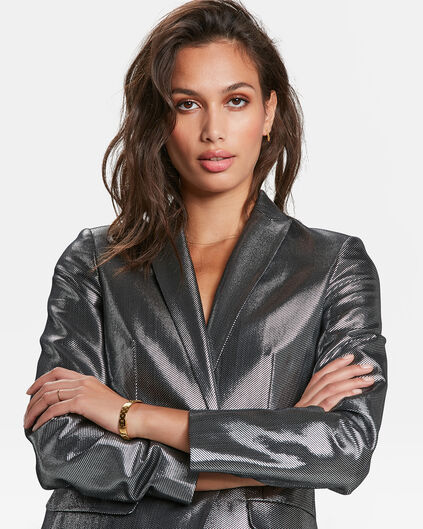 DAMENBLAZER IN METALLIC-OPTIK Silber