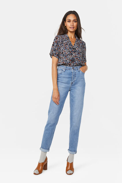 Damen-Skinny-Fit-Jeans mit hoher Taille Blau