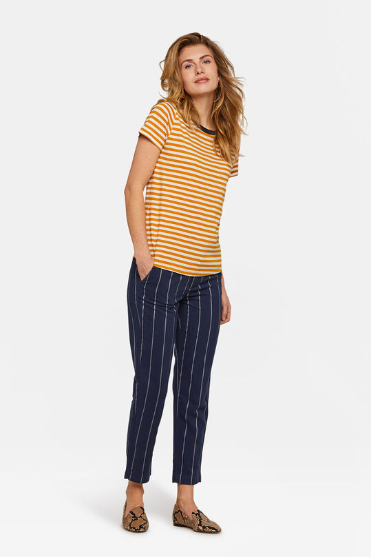 Damen-Slim-Fit-Chino mit Streifenmuster Marineblau