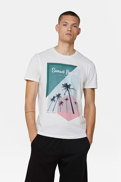 "Herren-T-Shirt mit ""Sunset Beach""-Print Weiß"