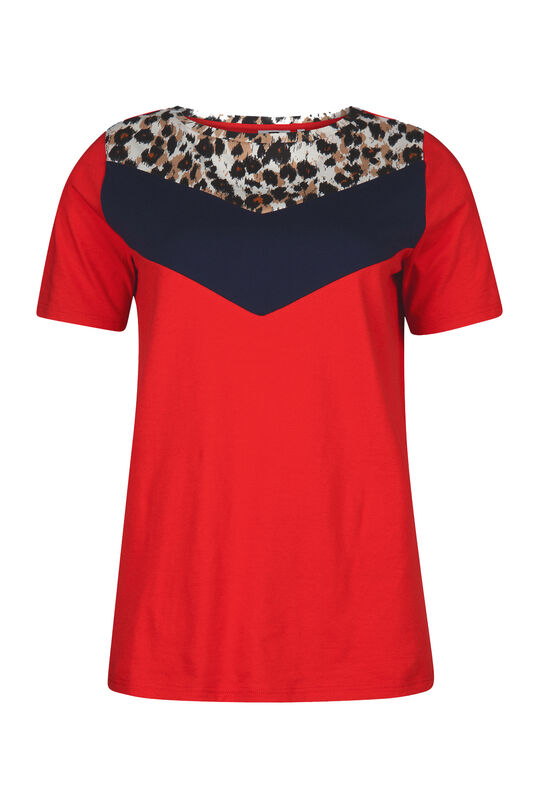 Damen-T-Shirt in Colourblock-Optik Rot