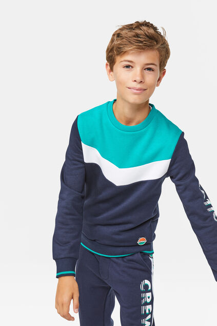 Jungen-Sweatshirt in Colourblock-Optik Marineblau