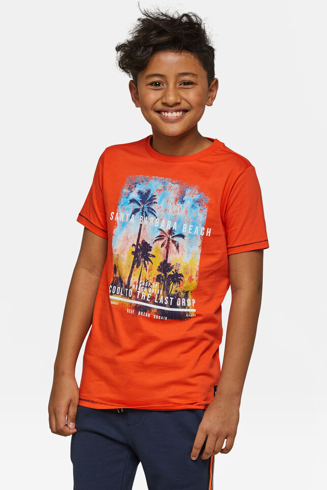 "Jungen-T-Shirt mit ""Beach""-Print Orange"
