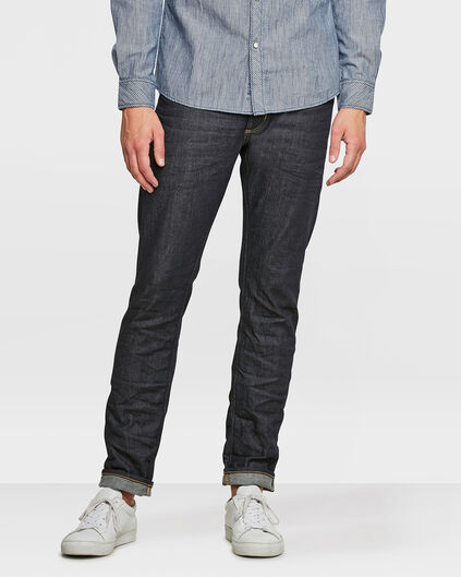 HERREN-SLIM-TAPERED-SELVEDGE-STRETCH-JEANS Dunkelblau