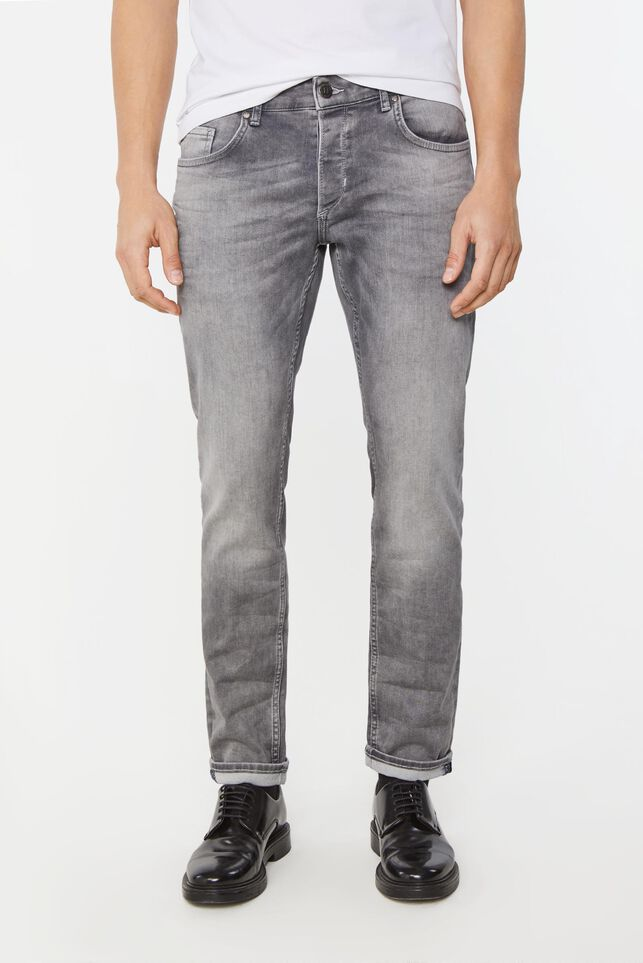 Herren-Slim-Fit-Jeans mit Tapered Leg Hellgrau