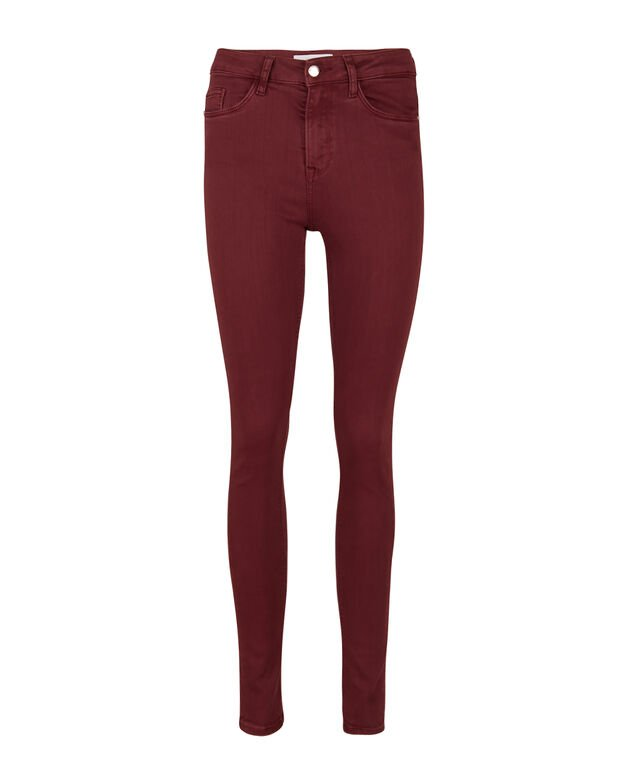 DAMEN-SKINNY-JEANS MIT HOHER TAILLE Weinrot