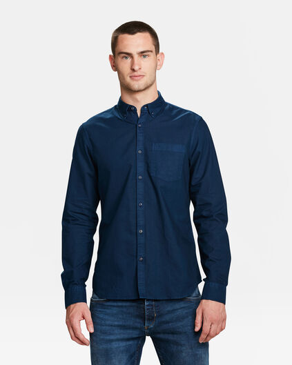HERREN-SLIM-FIT-HEMD IN GARMENT-DYE-OPTIK Marineblau