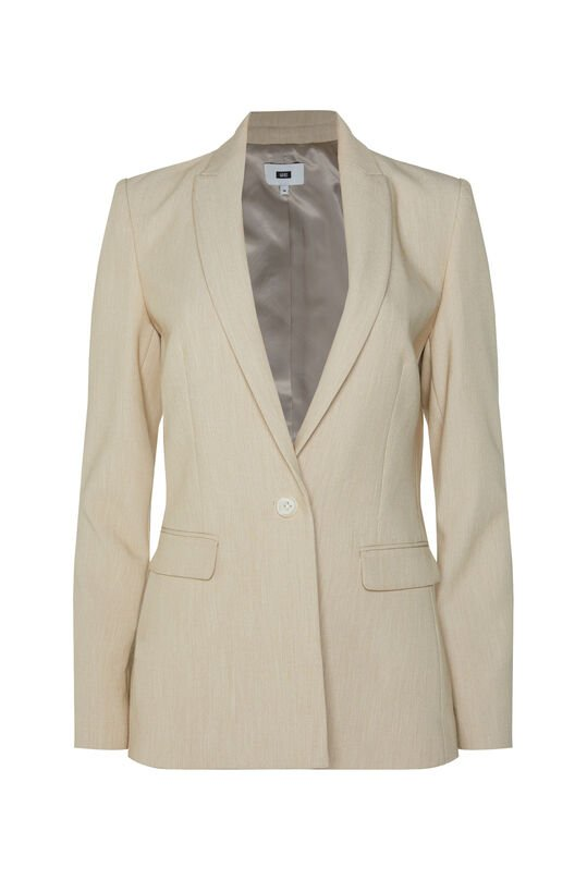 Damen-Regular-Fit-Blazer in melierter Optik Beige