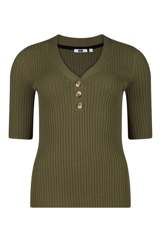 Damenshirt in Ripp-Optik Khaki