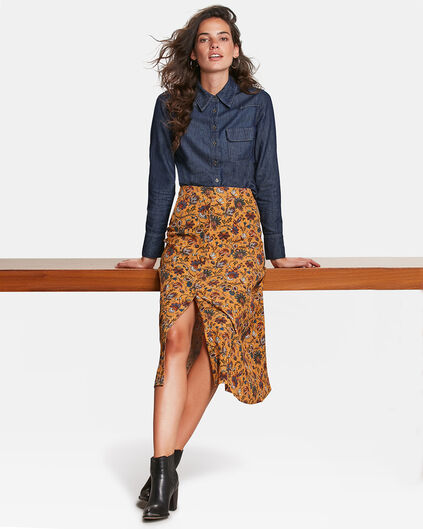 DAMEN-MIDIROCK MIT PAISLEY-MUSTER Orange