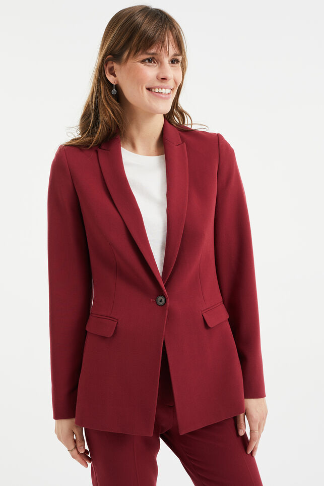 Damen-Regular-Fit-Blazer Dunkelrot