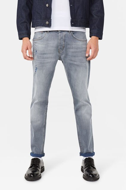 Herren-Slim-Fit-Comfort-Stretch Jeans mit Tapered Leg Graublau