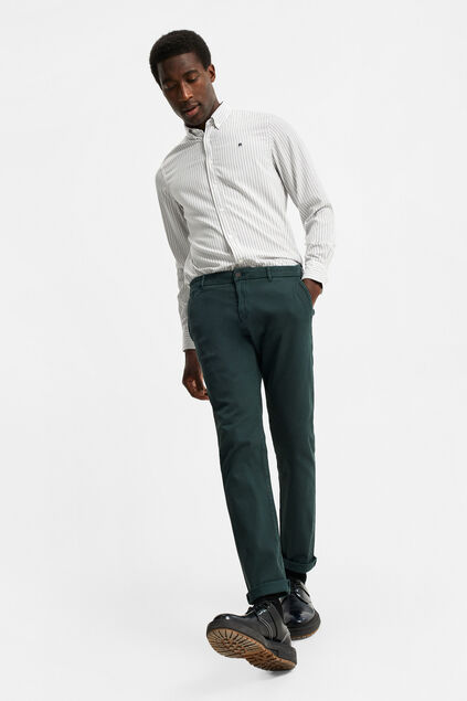 Herren-Slim-Tapered-Chinos in Ripp-Optik Moosgrün