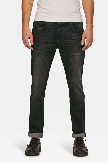 Herren-Slim-Fit-Jog-Denim Jeans mit Tapered Leg Schwarz