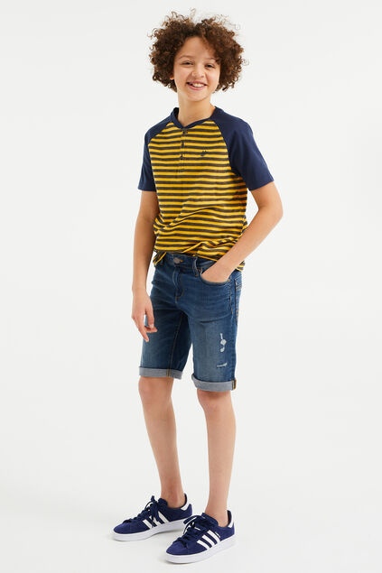 Jungen-Slim-Fit-Jeansshorts mit Destroyed-Details Blau
