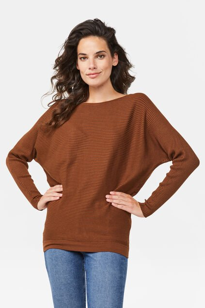 Damenpullover in Rippstrick-Optik Cognac