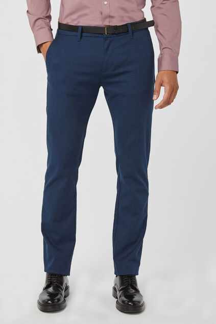 Herren-Skinny-Fit-Chino in melierter Optik Dunkelblau
