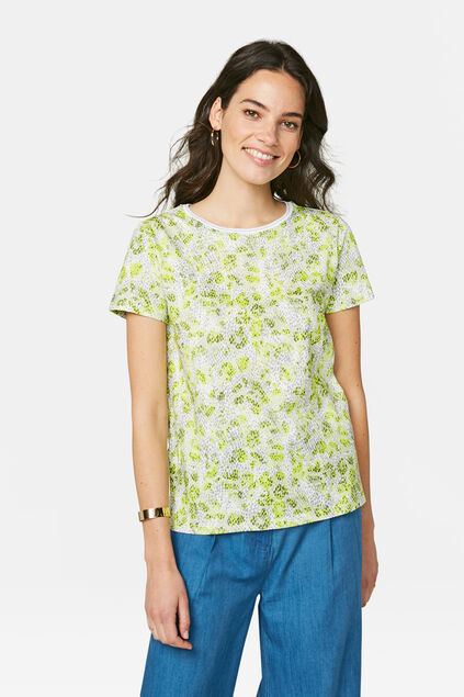Damen-T-Shirt mit Allover-Print Weiß