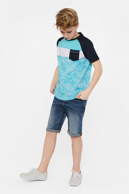 Jungen-T-Shirt in Colourblock-Optik Knallblau