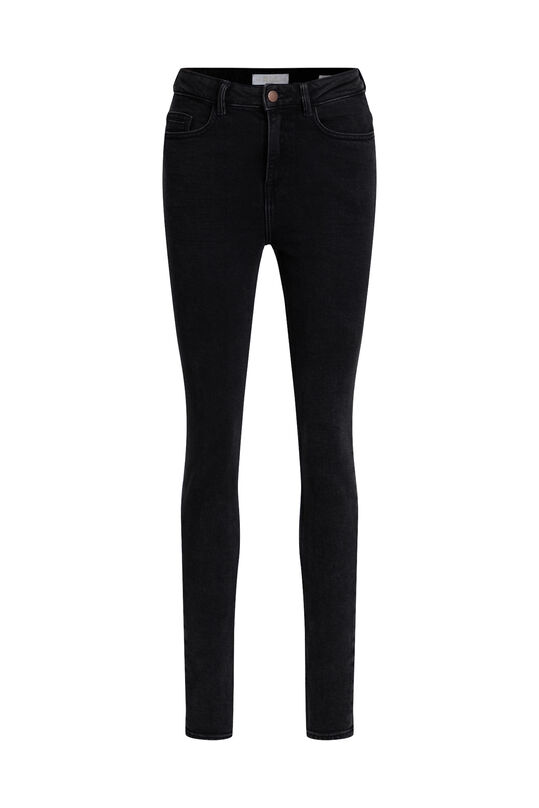 Damen-Skinny-Jeans mit hoher Taille Dunkelgrau