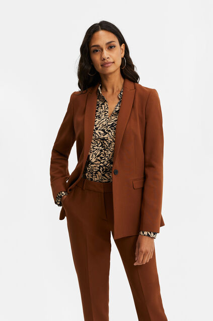 Damen-Regular-Fit-Blazer Cognac