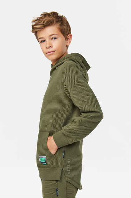 Jungen-Sweatshirt in Ripp-Optik Armeegrün