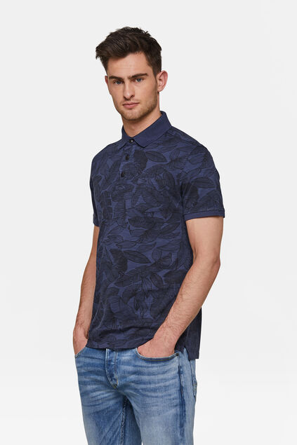 Herren-Poloshirt in Garment-Dyed-Optik Dunkelblau