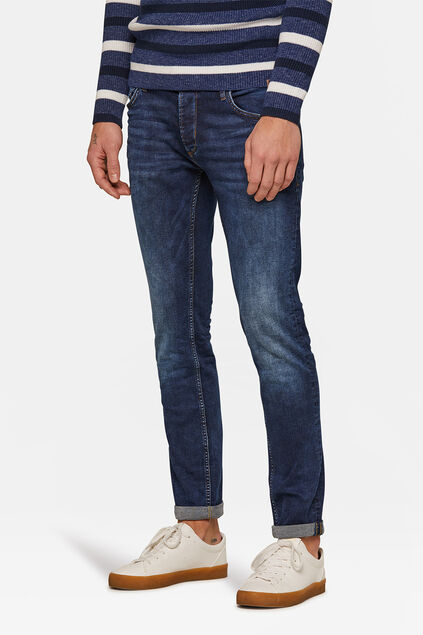 Herren-Stretch-Jeans mit Tapered Leg Dunkelblau