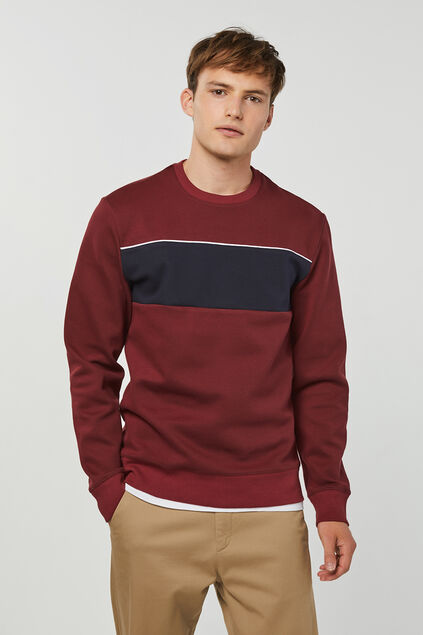 Jungen-Sweatshirt in Colourblock-Optik Weinrot