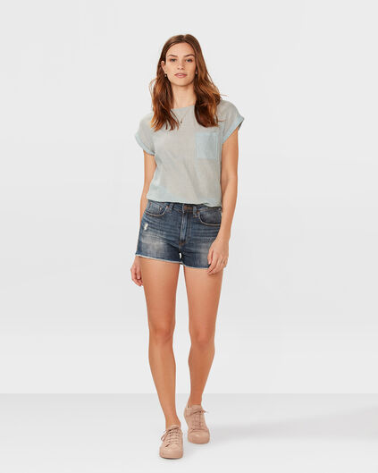 DAMEN-HIGH-RISE-SLIM-DENIM-SHORT Blau