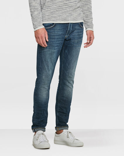 HERREN-SLIM-TAPERED-SELVEDGE-STRETCH-JEANS Blau