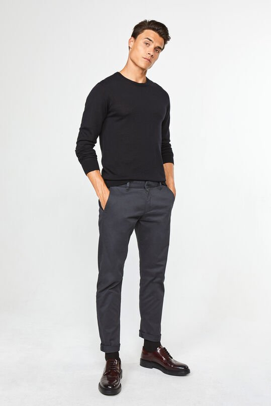Herren-Slim-Fit-Chinos mit Tapered Leg Dunkelgrau