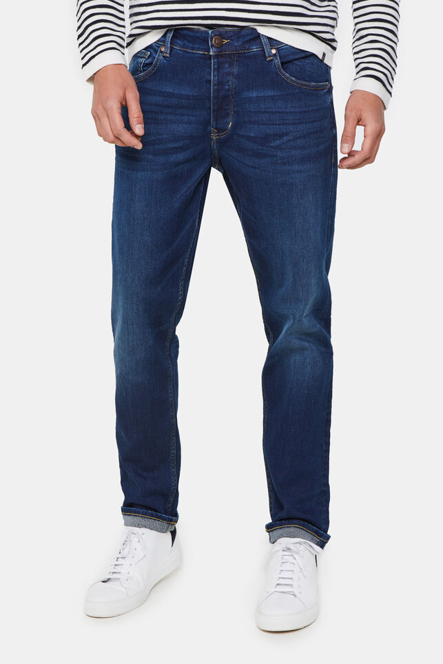 Herren-Tapered-Fit-Jeans aus Jog-Denim Dunkelblau