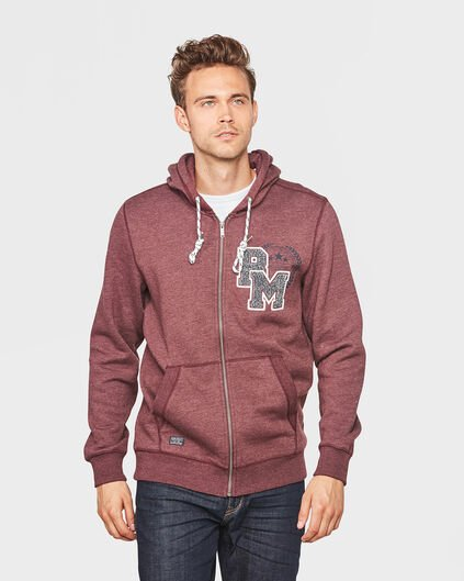 HERREN-SWEATJACKE IN MELIERTER OPTIK Weinrot