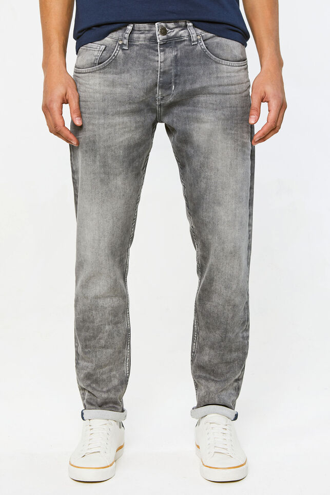 Herren-Tapered-Fit-Jeans aus Jog-Denim Hellgrau